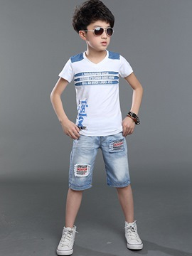 Ericdress Letter Print T Shirt Pants Boy's Summer Outfits