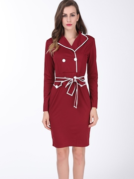 Ericdress Plain Lace-Up Lapel Sheath Dress