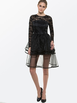 Ericdress Solid Color Lace Mesh Patchwork Double-Layer Casual Dress