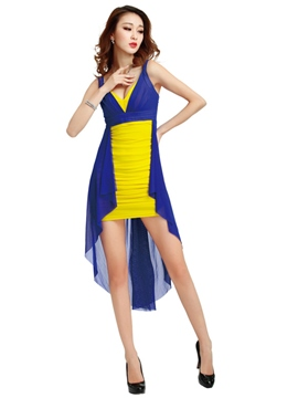 Ericdress Color bloque Vogue finaliza Sexy Clubwear