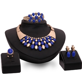Ericdress Blue Gemstones Decor Golden Jewelry Set