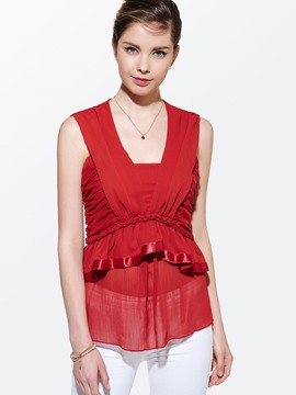 Ericdress Plain Pleated Mesh Blouse
