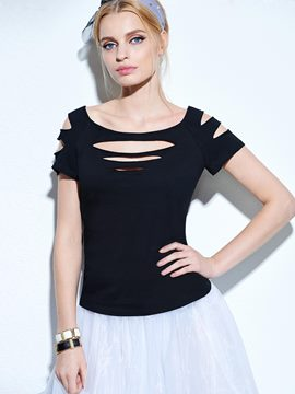 Ericdress off-shoulder gegriffenes T-Shirt