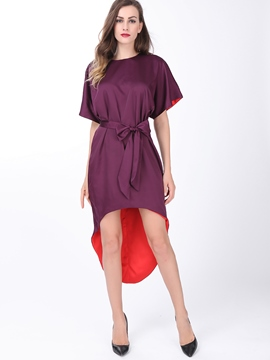 Ericdress Round Collar Asymmetrical Casual Dress