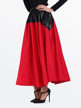 Ericdress Color Block Patchwork Broomstick Maxi Skirt
