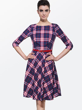 Ericdress Plaid Long Sleeve Round Neck Casual Dress