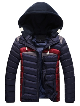 Ericdress Vogue Color Block Thicken Warm Men's Winter Coat