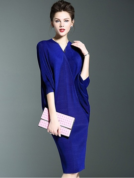 Ericdress Plain Patchwork Batwing Sleeve Sheath Dress