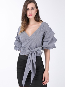 Ericdress Slim Bonknot Asymmetric Blouse