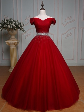Ericdress Off-the-Shoulder robe boule perles plis-parole longueur robe de Quinceanera
