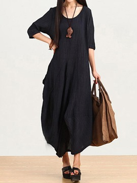 Ericdress Ethic Black Round Neck Loose Maxi Dress
