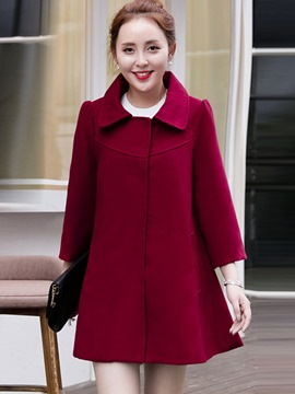 Ericdress Solid Color A-Line Coat