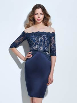 Ericdress gaine Off-the-Shoulder moitié manches robe de Cocktail Dentelle Appliques