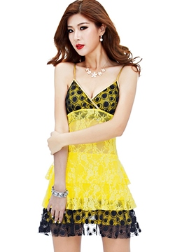 Ericdress Lace Patchwork Sequins Vogue Sexy Clubwear