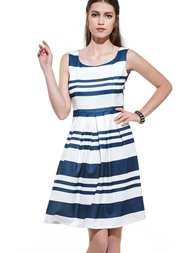 Ericdress Stripe Patchwork Sleeveless Casual Dress