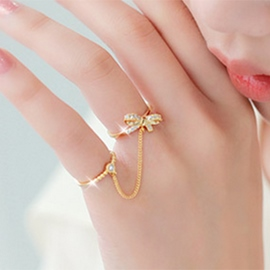 Ericdress Personality Diamond Bowknot Ring