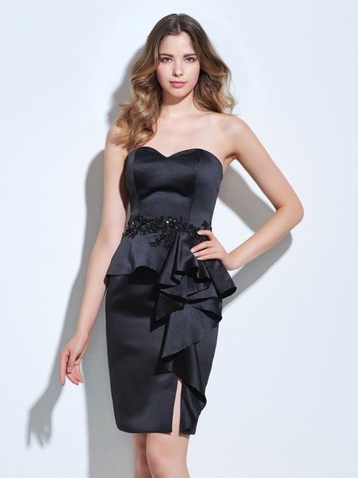 Ericdress Sheath Sweetheart Appliques Beading Ruffles Split-Front Cocktail Dress