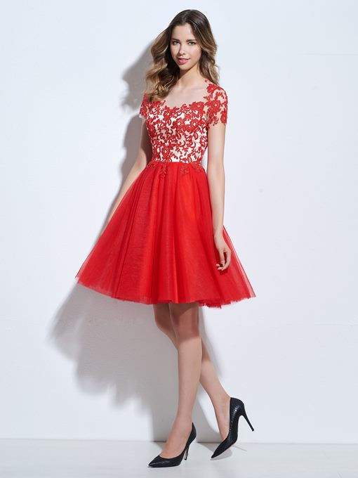 Ericdress A-Line Scoop Short Sleeves Appliques Knee-Length Cocktail Dress