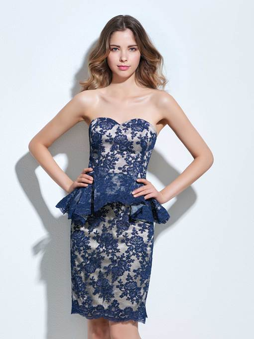 Ericdress Sweetheart Sheath Appliques Lace Knee-Length Cocktail Dress