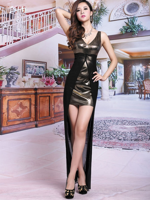 Ericdress Patent Leather Mesh Patchwork Sexy Clubwear