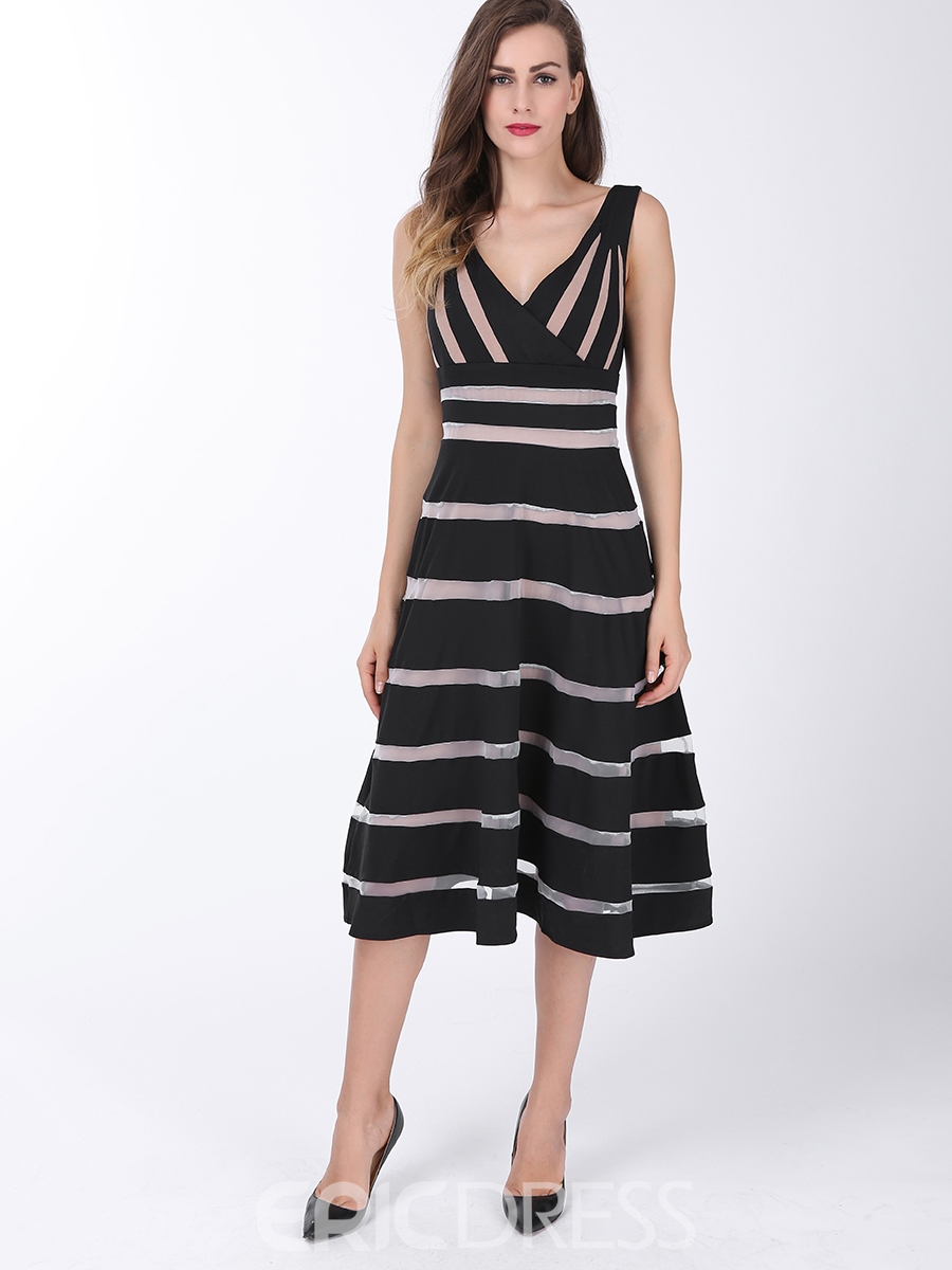 Ericdress Strip See-Through Patchwork Lace-Up A Line Dress