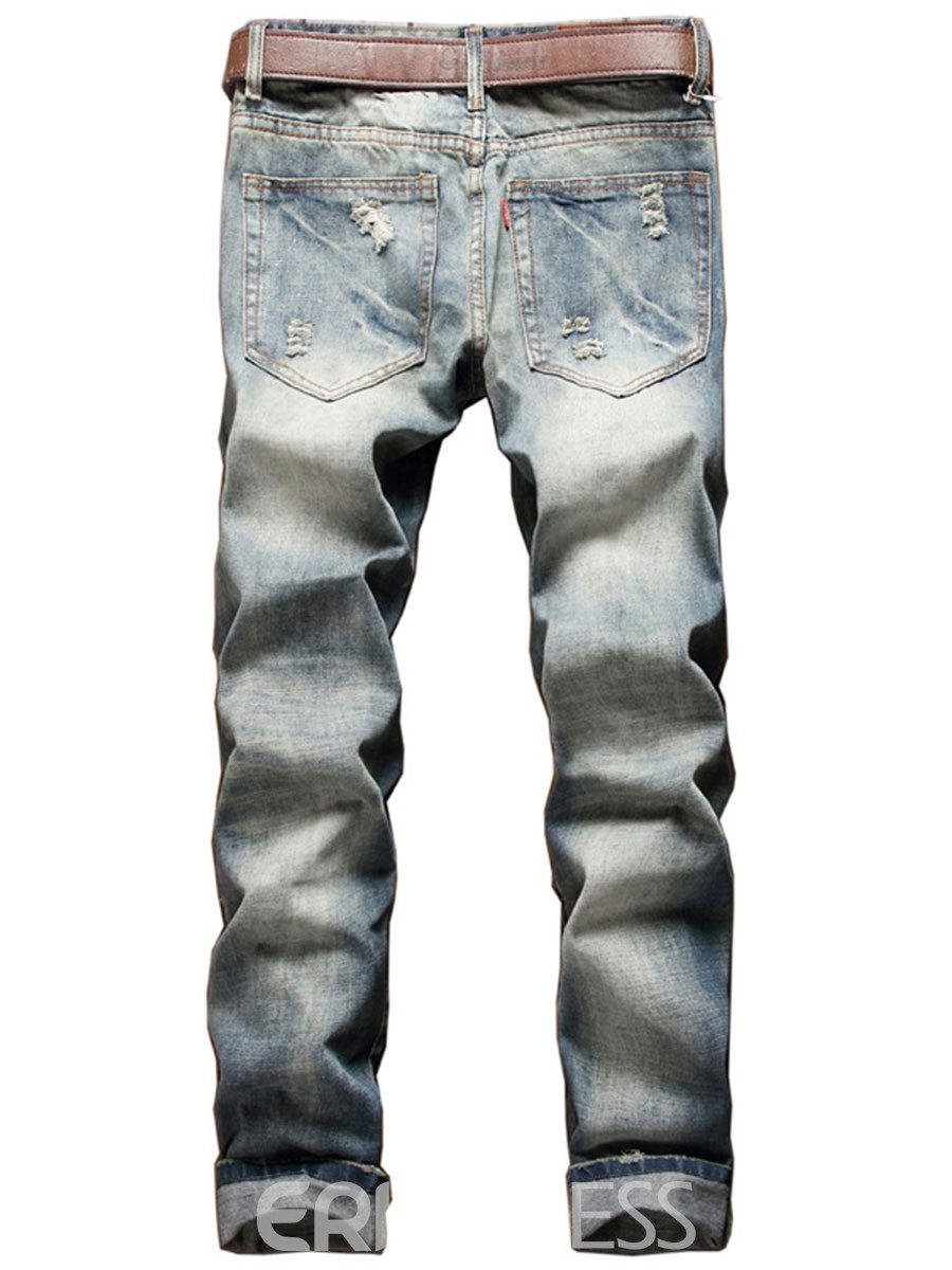 Ericdress Casual Holes Denim Men's Jeans