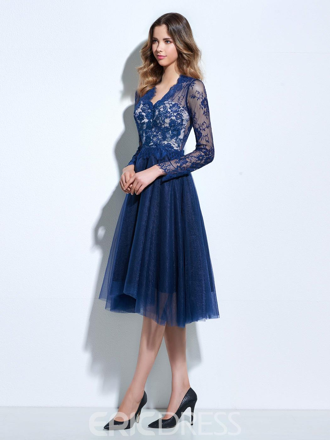 Ericdress A-Line V-Neck Long Sleeves Lace Knee-Length Cocktail Dress ...