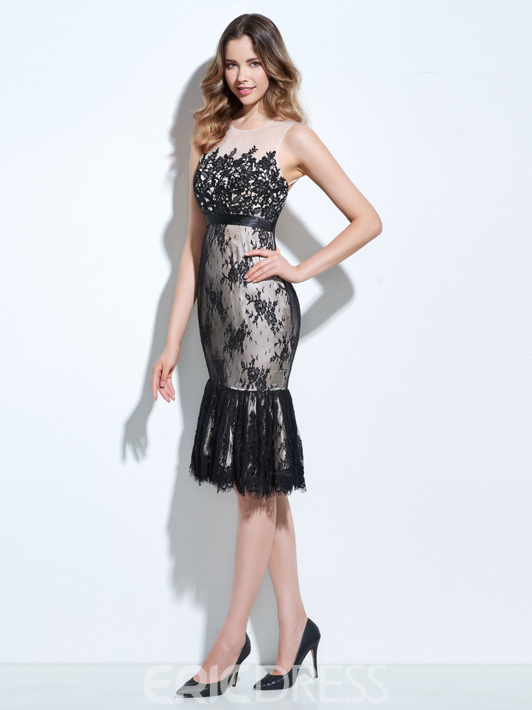 Ericdress Sheath Scoop Lace Knee-Length Cocktail Dress