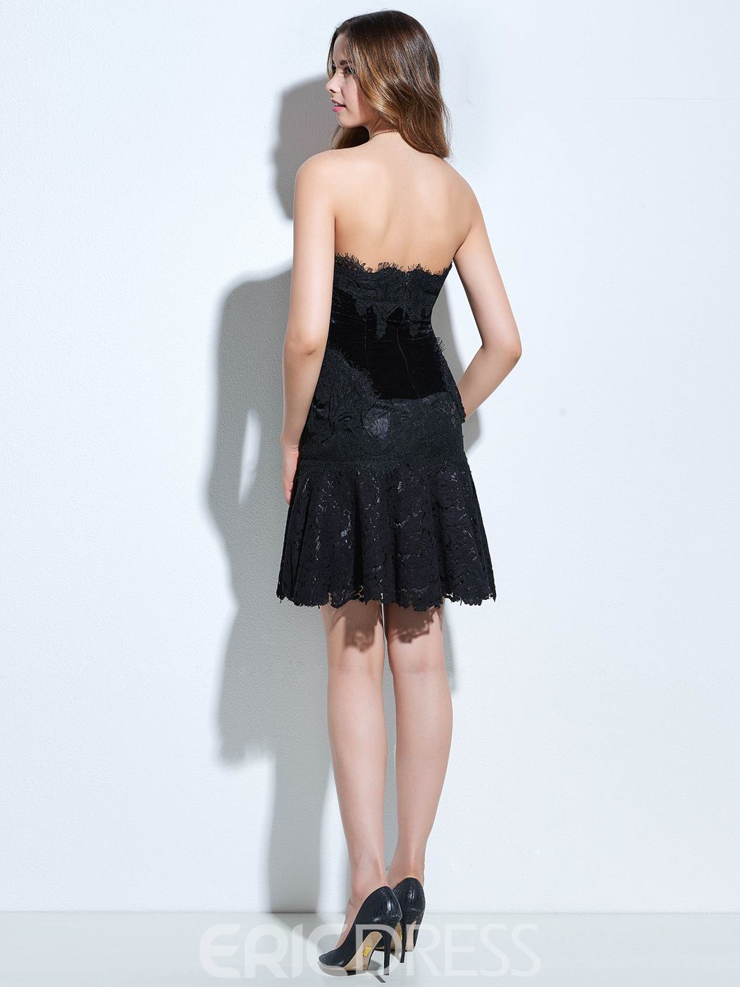 Ericdress Strapless Sheath Lace Short Cocktail Dress