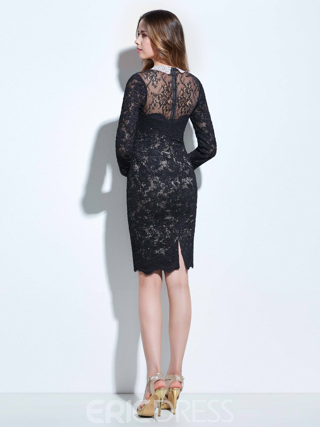 Ericdress Column Long Sleeves Beading Lace Bodycon Homecoming Dress