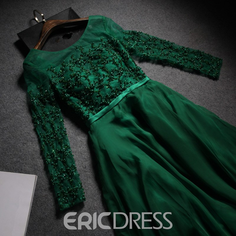 Ericdress A-Line Scoop Long Sleeves Beading Sashes Sweep Train Evening Dress
