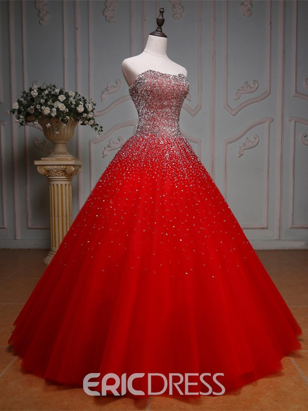 Ericdress Sweetheart Beaded Sequins Ball Gown Red Wedding Dress