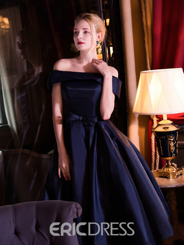 Ericdress A-Line Off-the-Shoulder Tea-Length Evening Dress With Bowknot Sashes