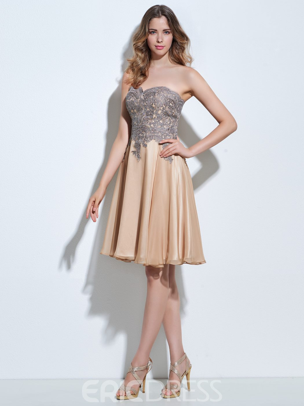 Ericdress A-Line Sweetheart Appliques Zipper-Up Knee-Length Cocktail Dress