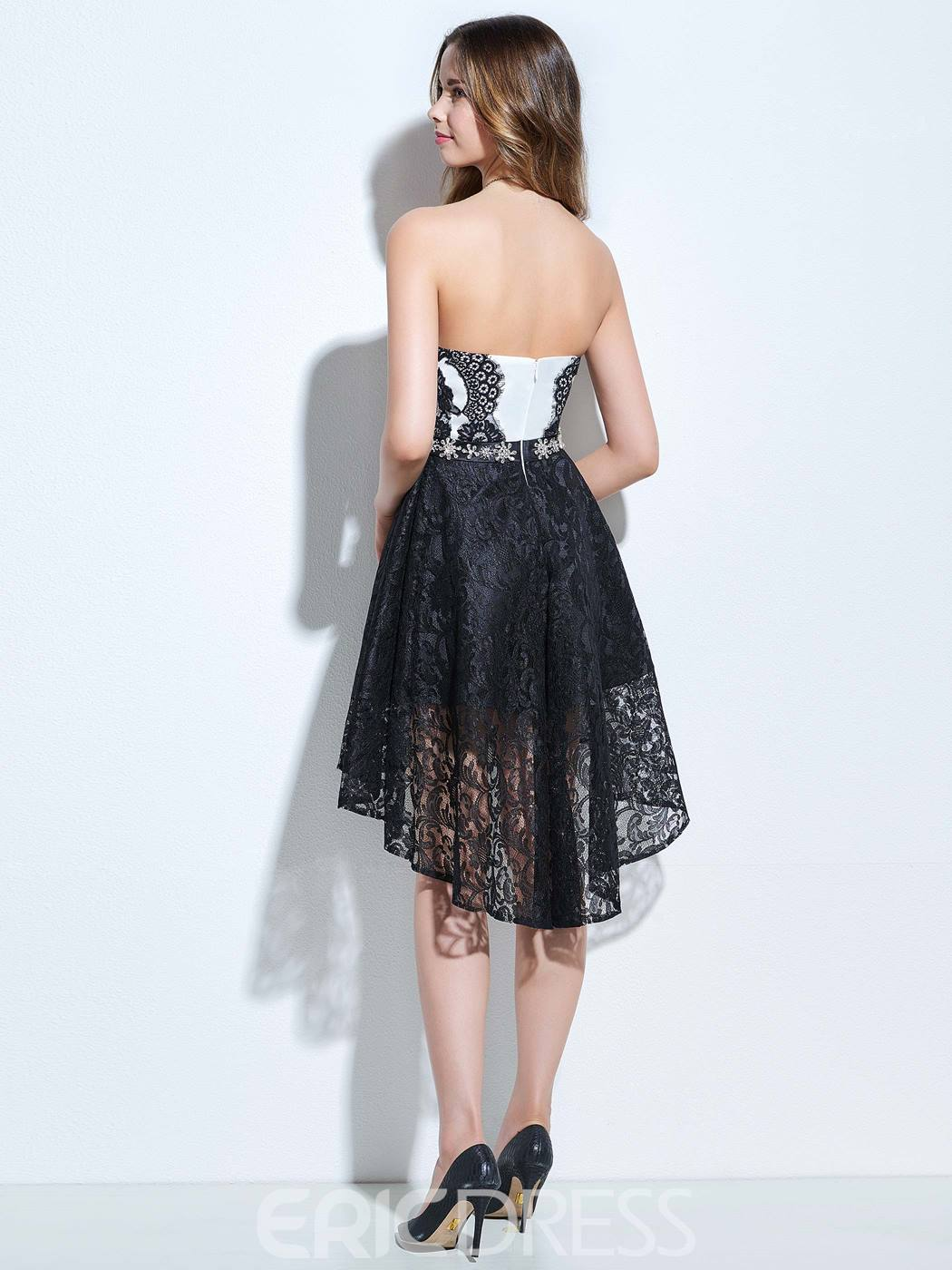 Ericdress Stapless A-Line Beaded Lace Asymmetry Cocktail Dress