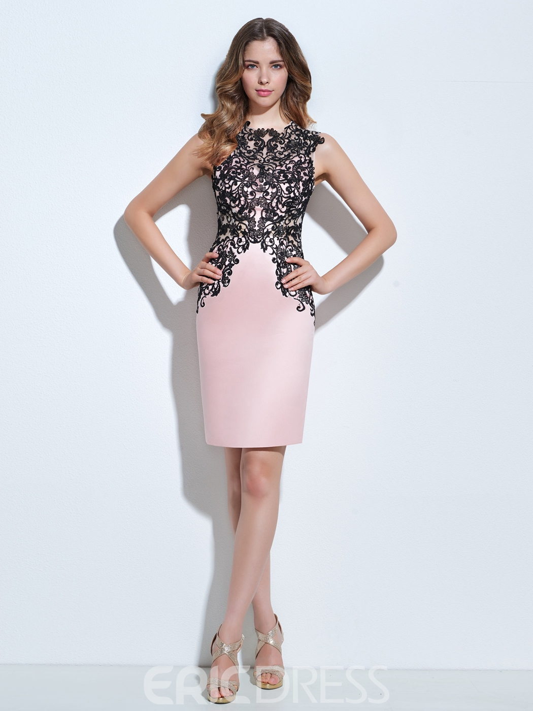 Ericdress Sheath Appliques Knee-Length Cocktail Dress
