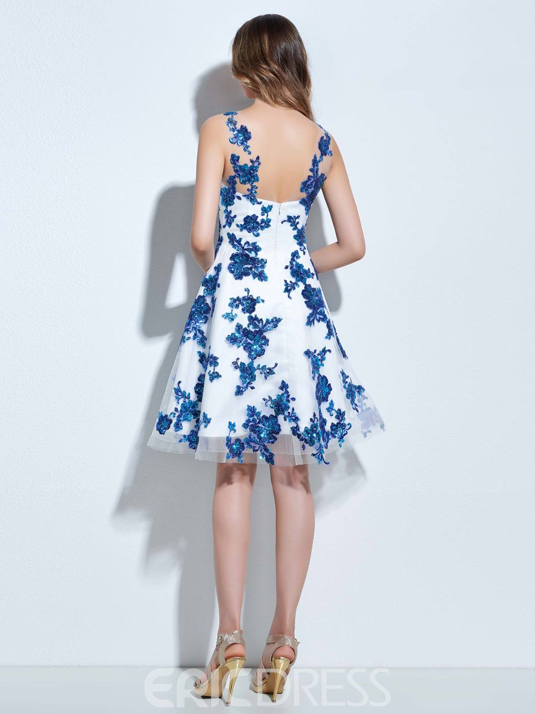 Ericdress Sheer Straps Sequins Knee-Length Cocktail Dress