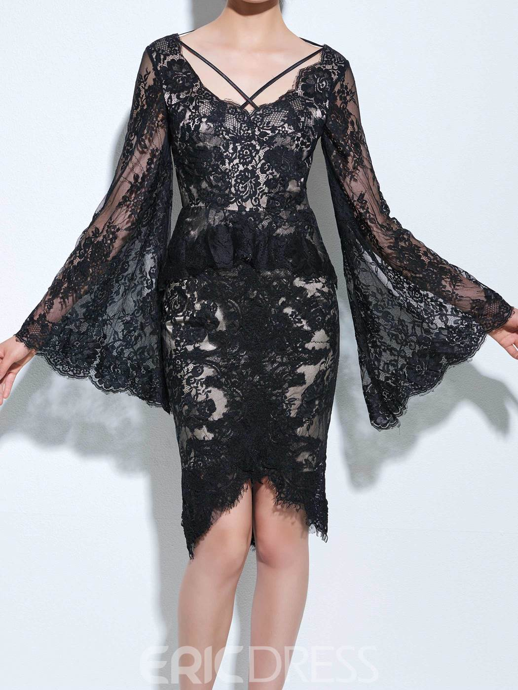 Ericdress Sheath Lace Knee-Length Cocktail Dress With Long Sleeves