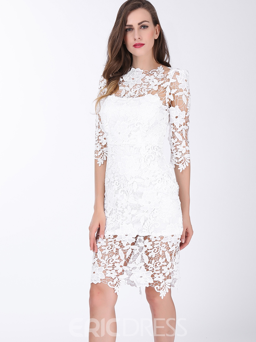 Ericdress Hollow Above Knee Half Sleeve Lace Dress