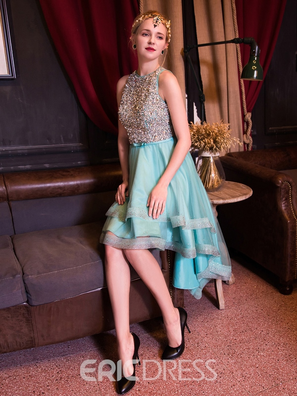 Ericdress Jewel A-Line Beading Crystal Asymmetry Cocktail Dress