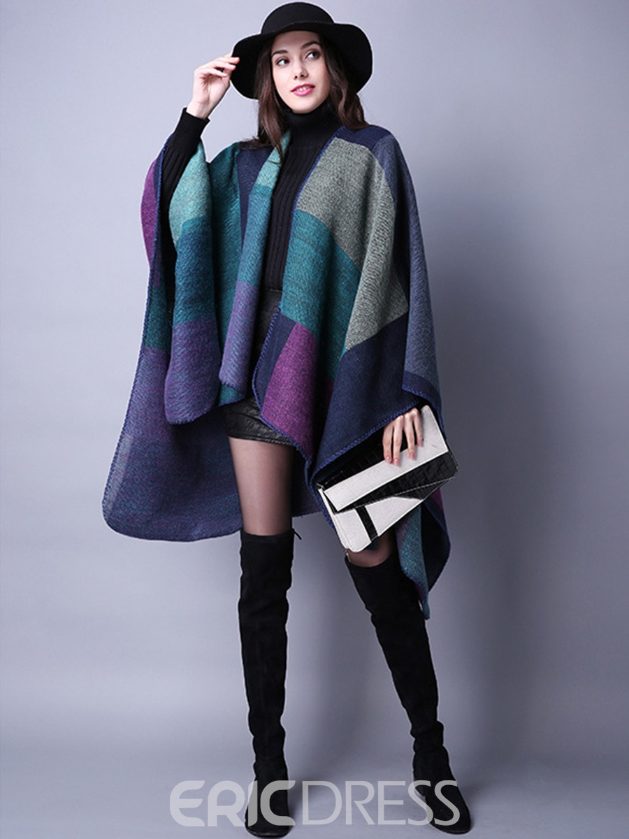 Ericdress Loose Batwing Color Block Cape
