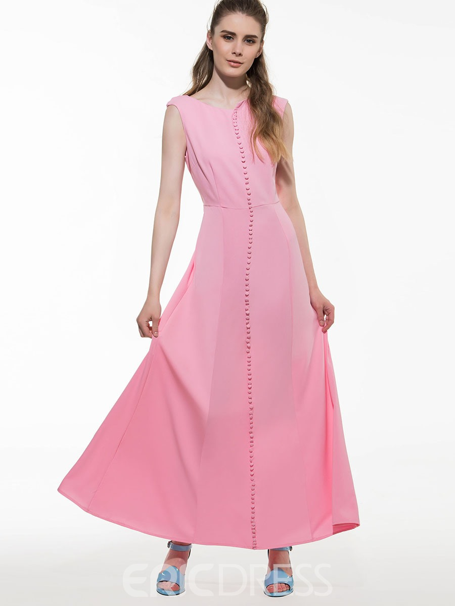 Ericdress Solid Color Buttons Patchwork Trumpet Maxi Dress