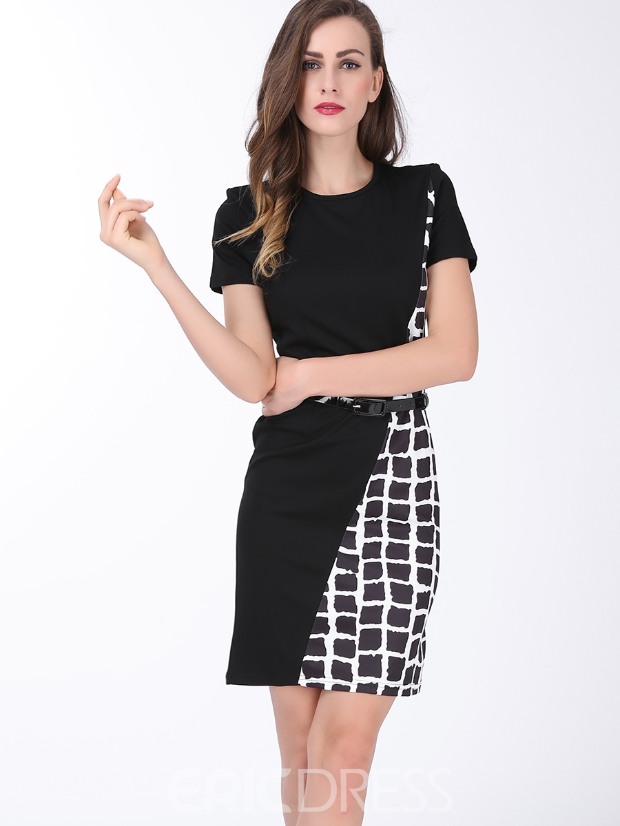 Ericdress Plaid Color Block Round Neck Bodycon Dress