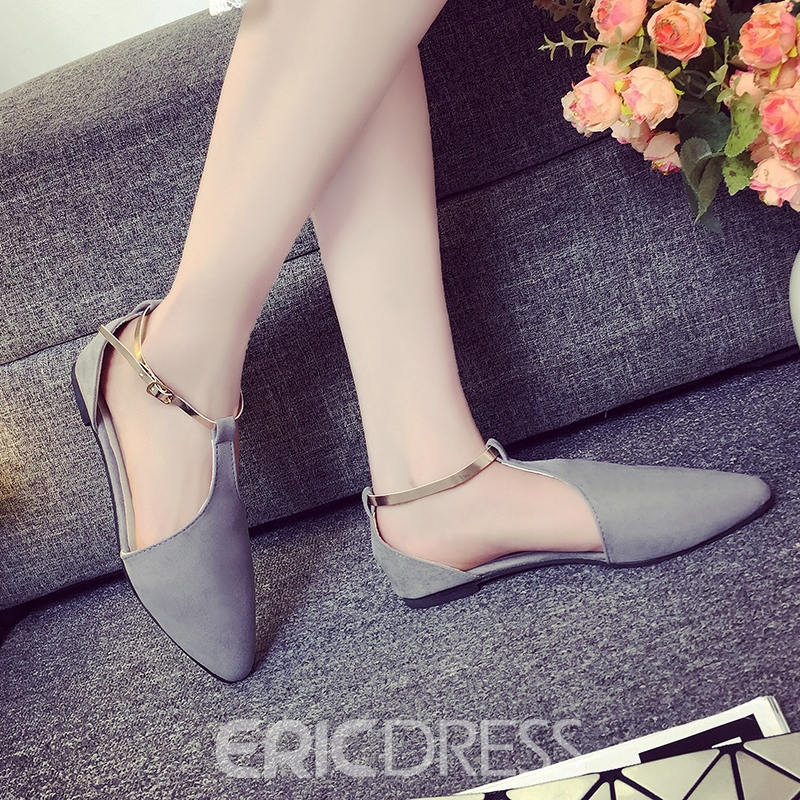 Ericdress Pretty Point Toe T Strap Flats