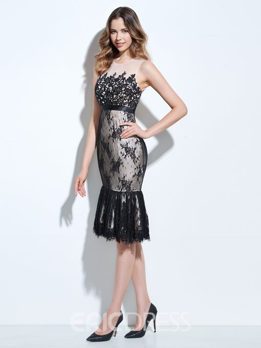 Ericdress Sheath Lace Knee-Length Bodycon Homecoming Dress