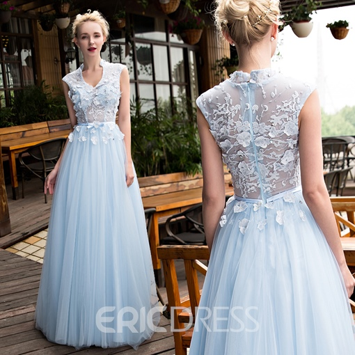 Ericdress Fairy A Line V Neck Applique Sweep Train Long Evening Dress