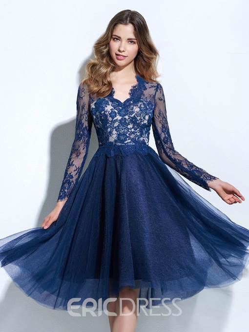 Ericdress A-Line V-Neck Long Sleeves Lace Knee-Length Cocktail Dress