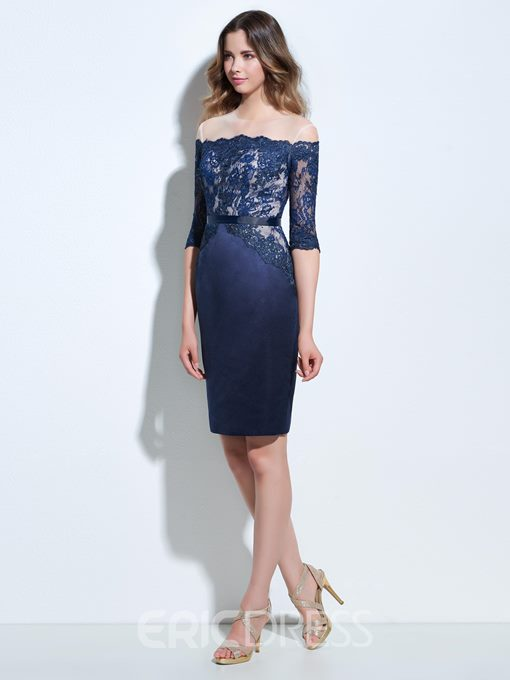 Ericdress Sheath Off-the-Shoulder Half Sleeves Appliques Lace Cocktail Dress
