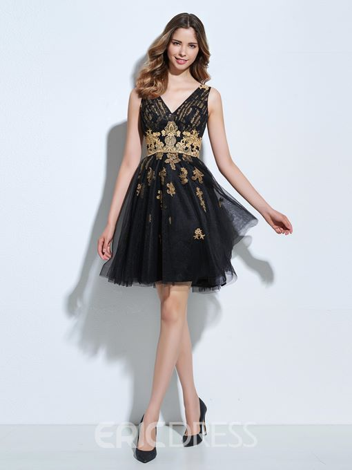 Ericdress A-Line V-Neck Appliques Draped Short Cocktail Dress