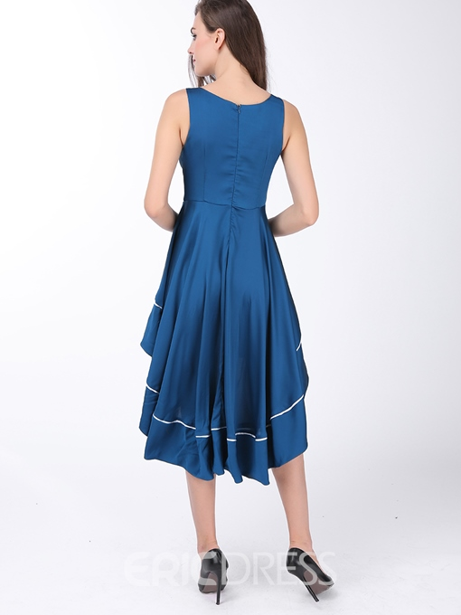 Ericdress Soild Color V-Neck Asymmetric Sleeveless Casual Dress